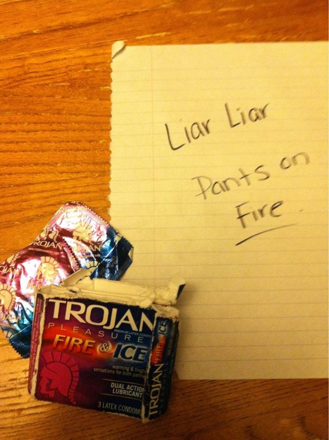 Mrs. Liar found these condoms left behind and decided to leave a little note.